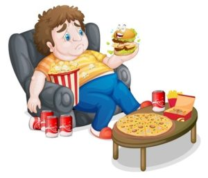 18459514 - illustration of a fat boy eating on a white background